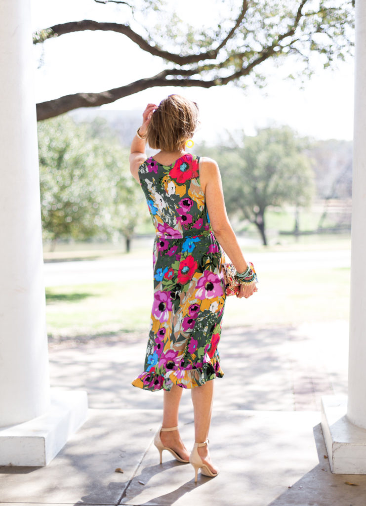 """Anthropology Easter Dresses 2018"", ""Fashionomics"", ""Fashion over 50 blog"", ""Floral Easter Dress"","