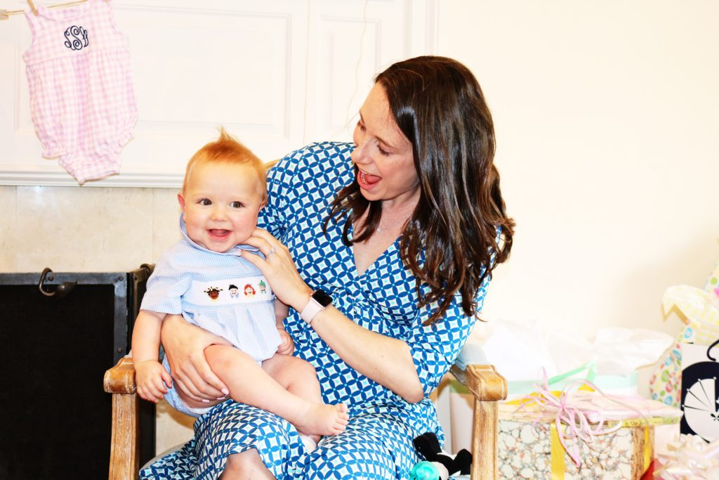 aunts and nephews, baby shower guests, smocked bubble, baby bliss