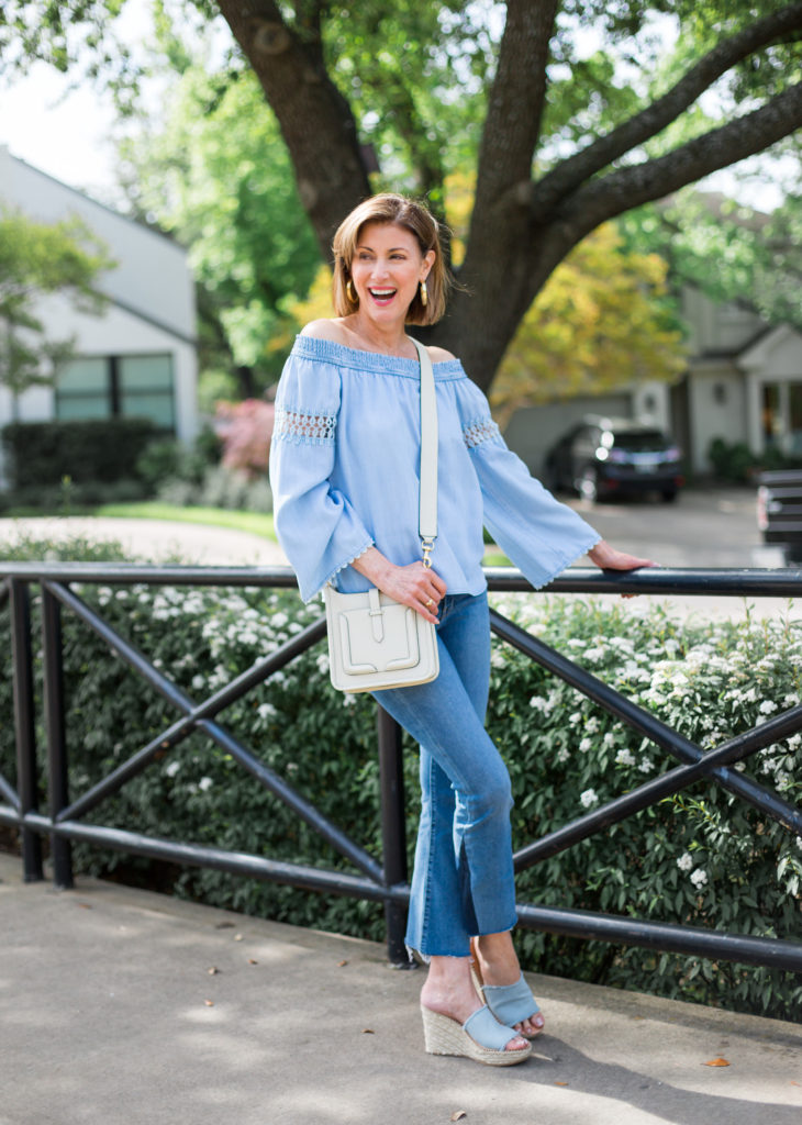 dallas style, debbyfashionomics, off the shoulder tops, over 50 blogger