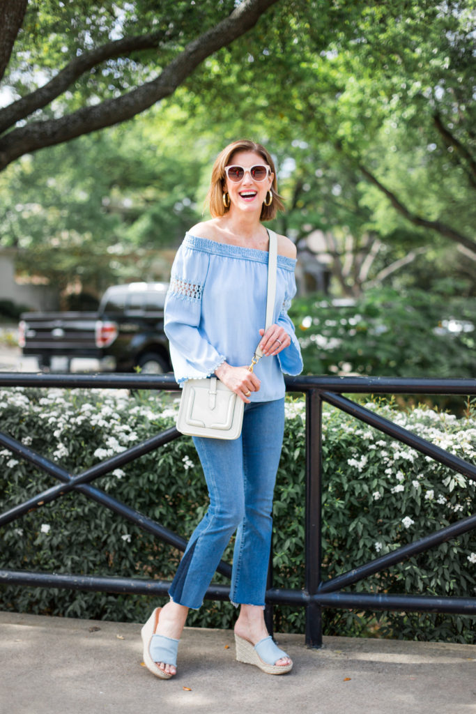 frayed jeans, cropped jeans, bell sleeves, casual fashion