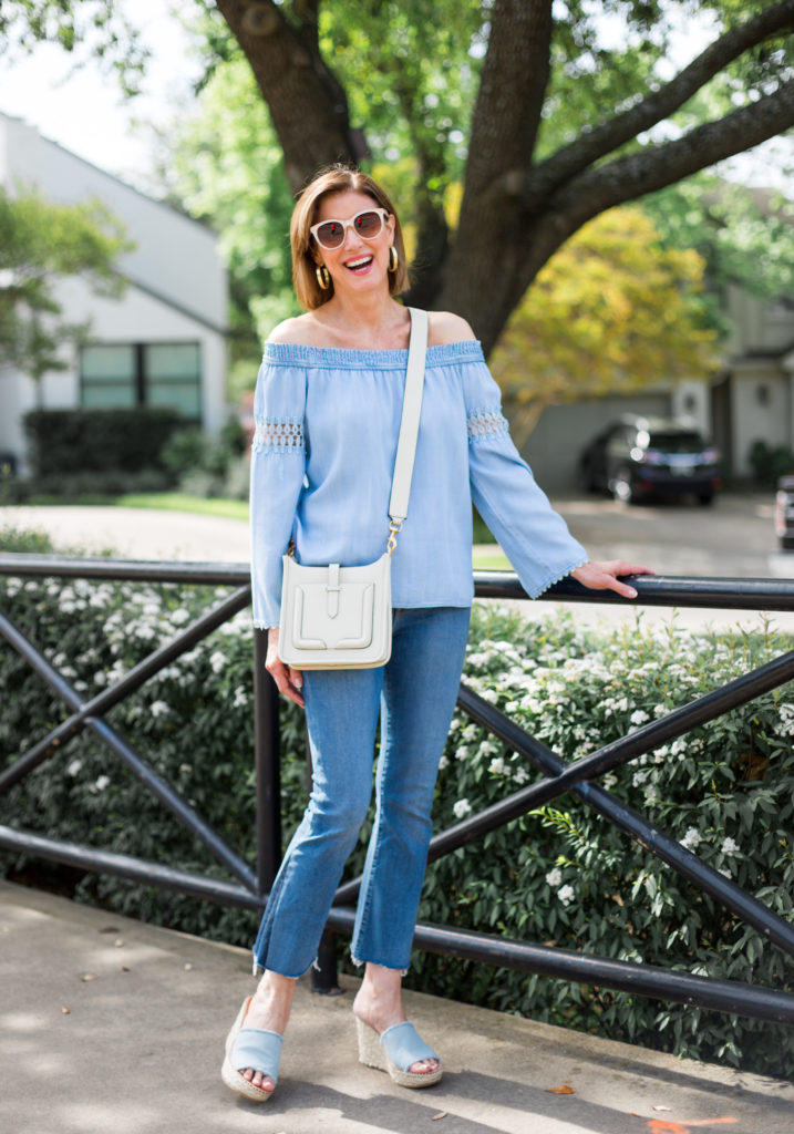 denim trends, fashionomics, over 50 blogger, denim shoes
