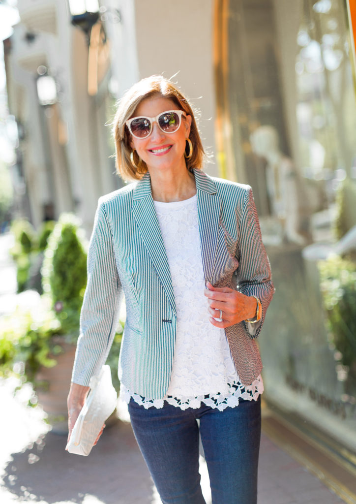 Dressing up jeans with a seersucker blazer for outfit of the day