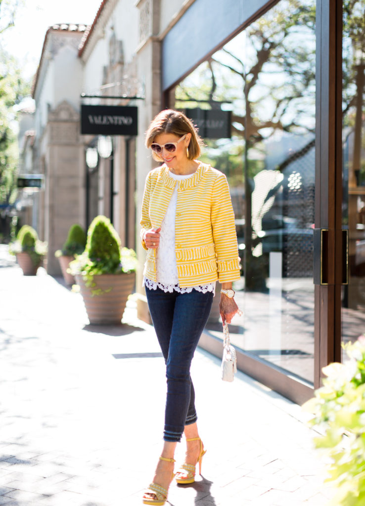 Dallas blogger chooses Ann Taylor boucle jacket for summer sale.