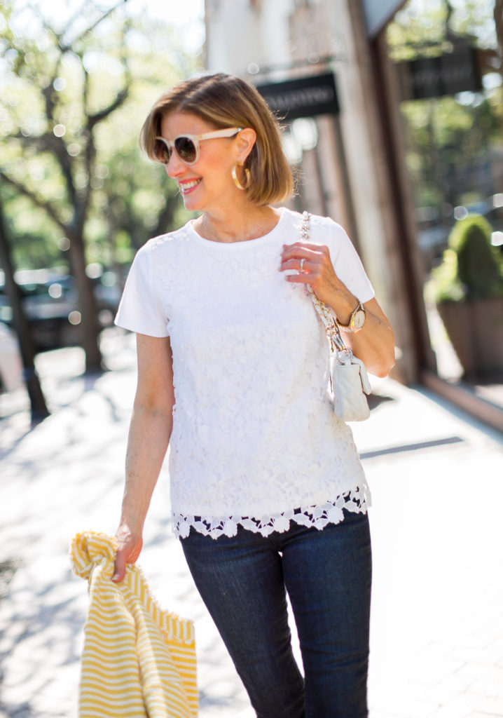Lace Tee Shirts and yellow summer jacket worn by fashion blogger