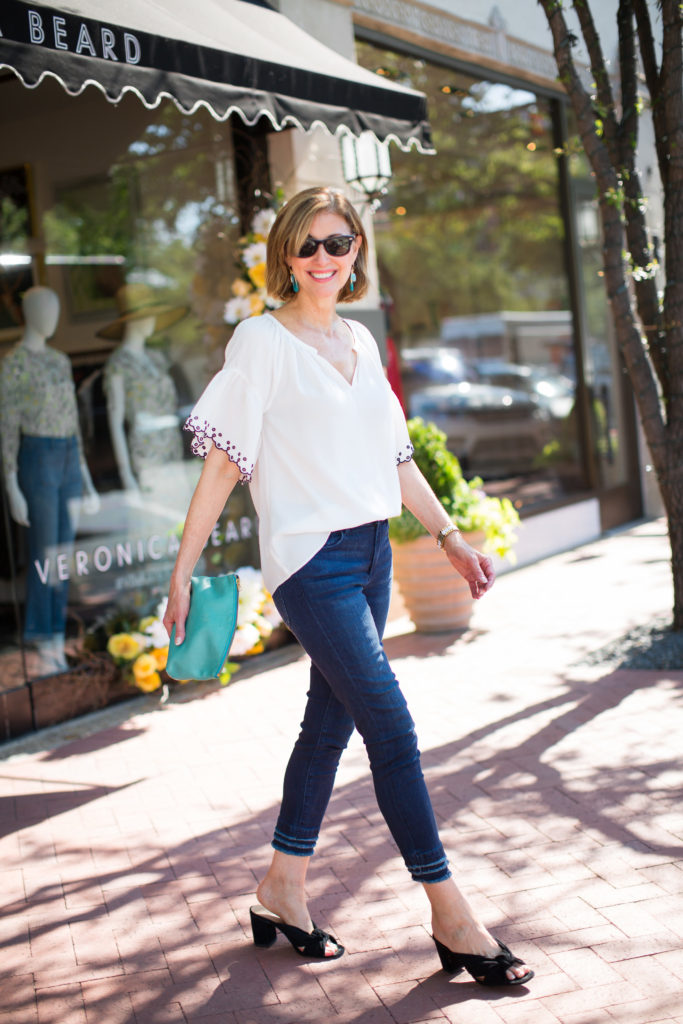 Over 50 style from Ann Taylor with white embroidered blouses for summer.