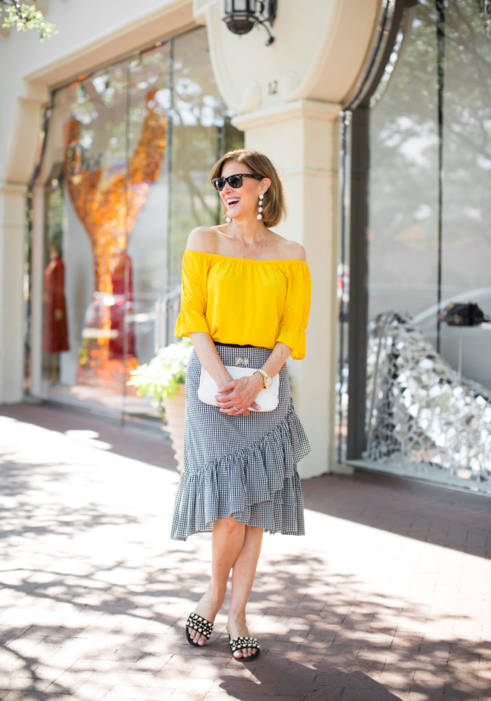 Gingham ruffle fiesta skirt from Ann Taylor and yellow cold shoulder top