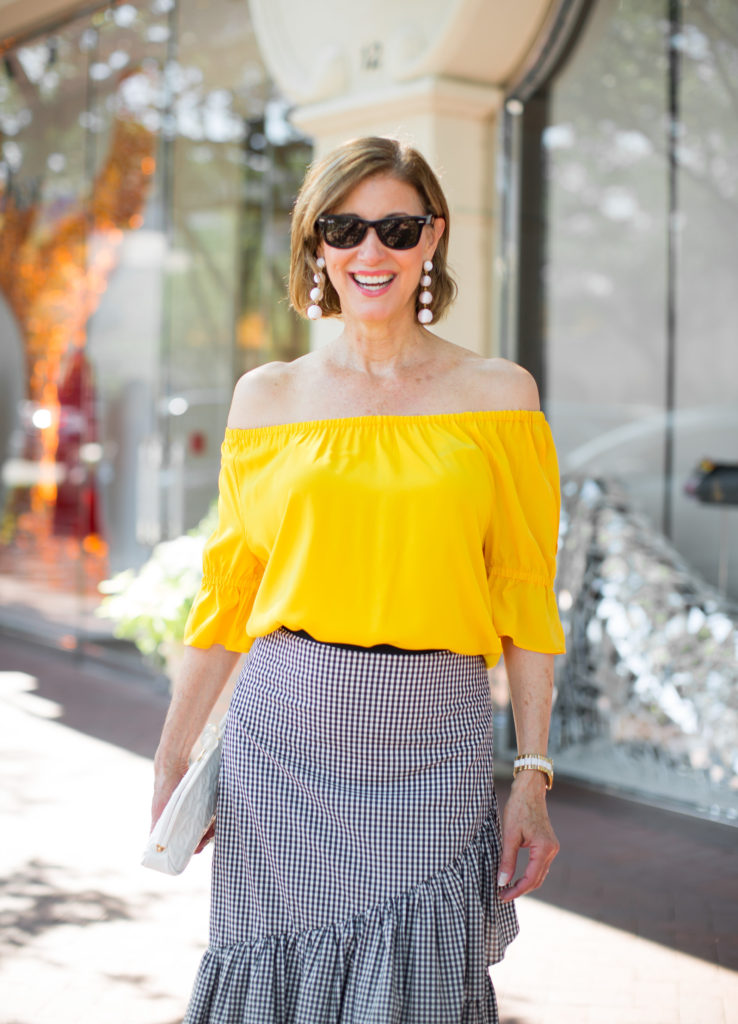 dallas style with off the shoulder top and gingham skirt from Ann Taylor