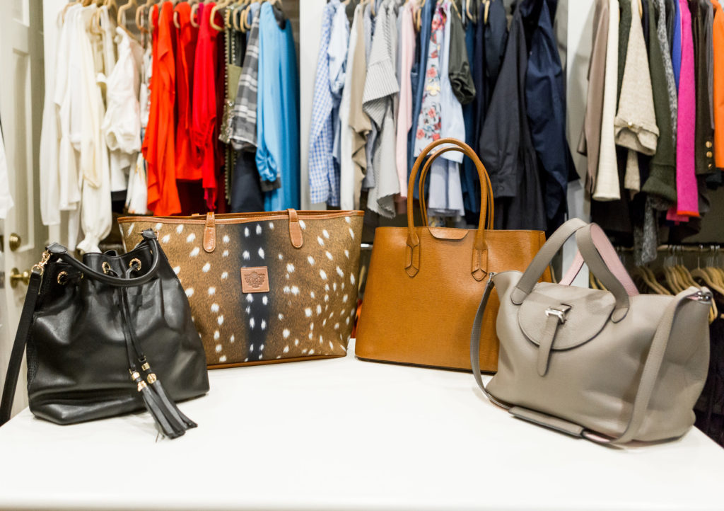 A bucket bag, tote, satchel and top handle bag make a great hand bag collection for dallas blogger.