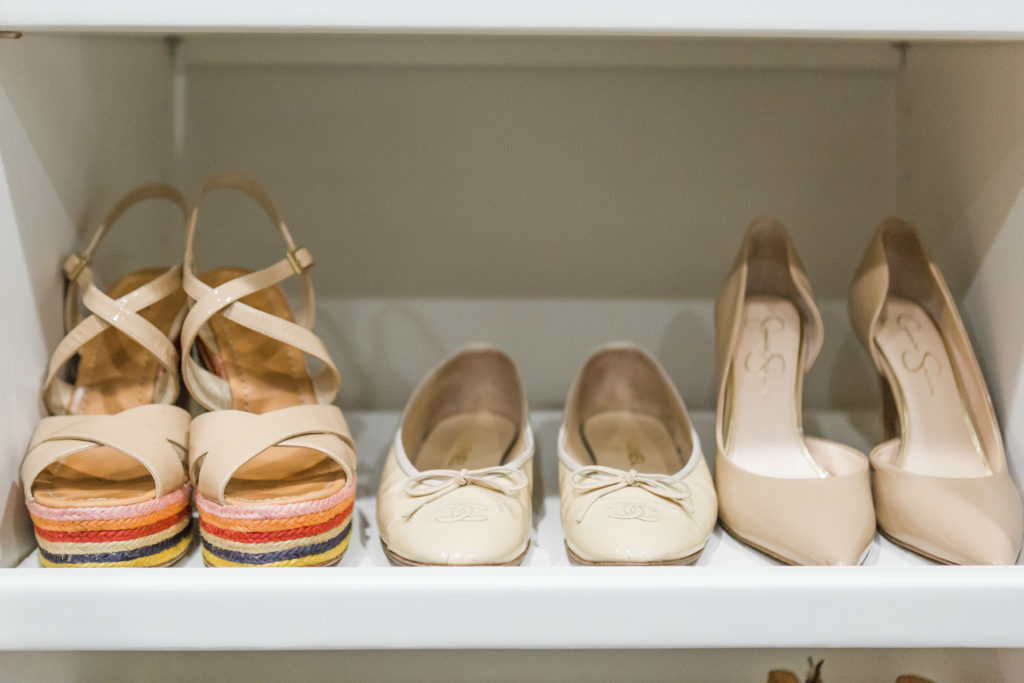 Closet essentials nude flat, nude pump and nude sandal or wedge.
