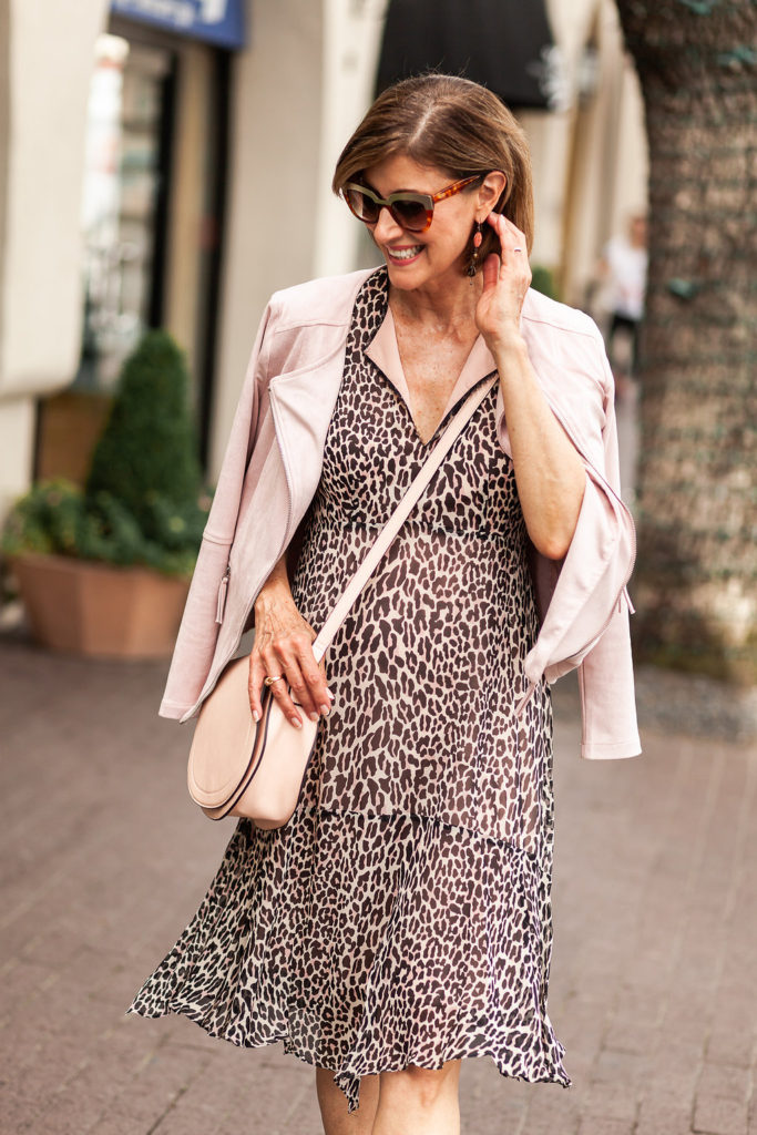 Blush pink accessories from Nordstrom Nanette Lepore leopard dress from Neiman Marcus.