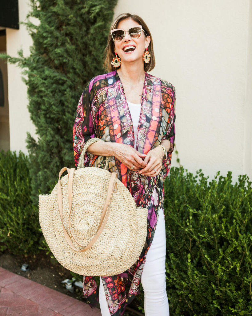 Street Level circle straw tote is a great summer bag with bauble bar earrings and nordstrom pink sunnies.