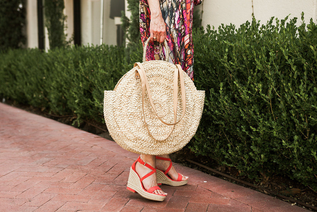 Summer style for beach vacation orange wedge and straw tote and kimono like Anthropologie