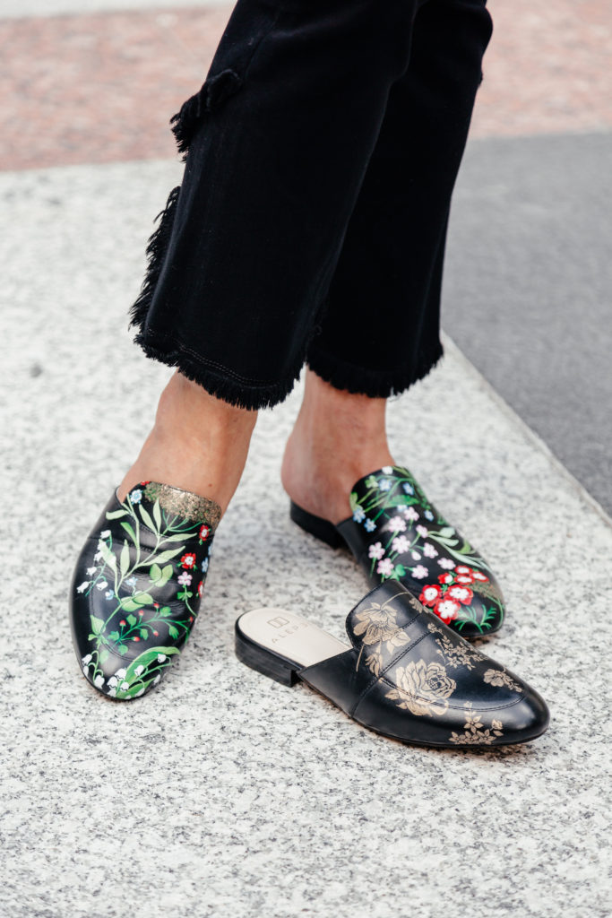 Over 50 blogger Debby Allbright loves slides and mules.