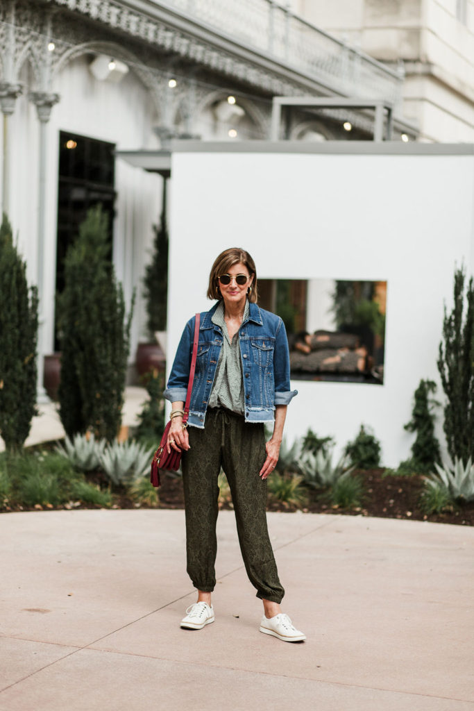 Koch joggers worn by over 50 blogger