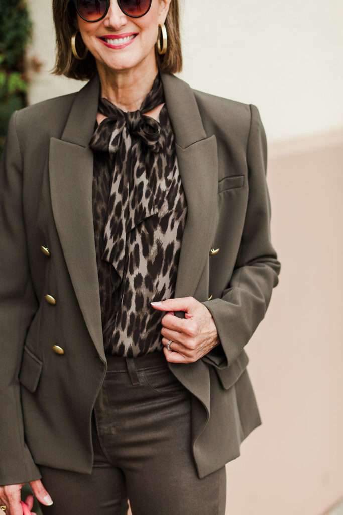 olive-green-jacket and olive green leopard blouse and olive green pant