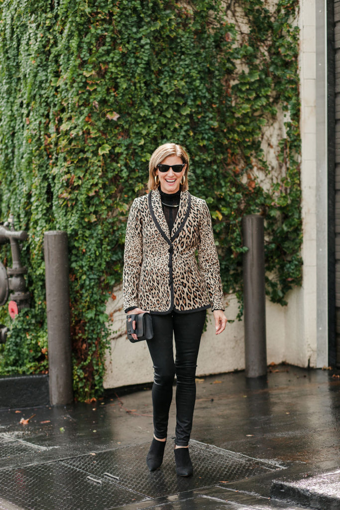 Velvet Frame leopard blazer with black waxed denim Citizens of Humanity jeans