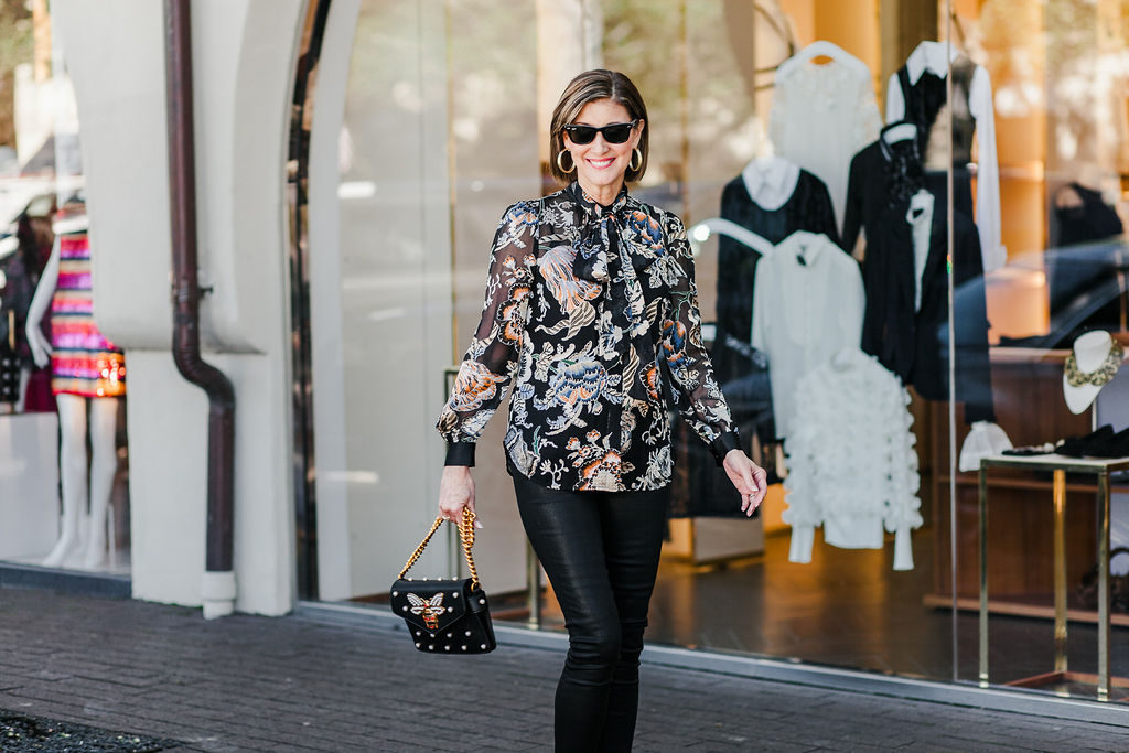 Bow tie blouses in prints and solids for fall fashionomics post