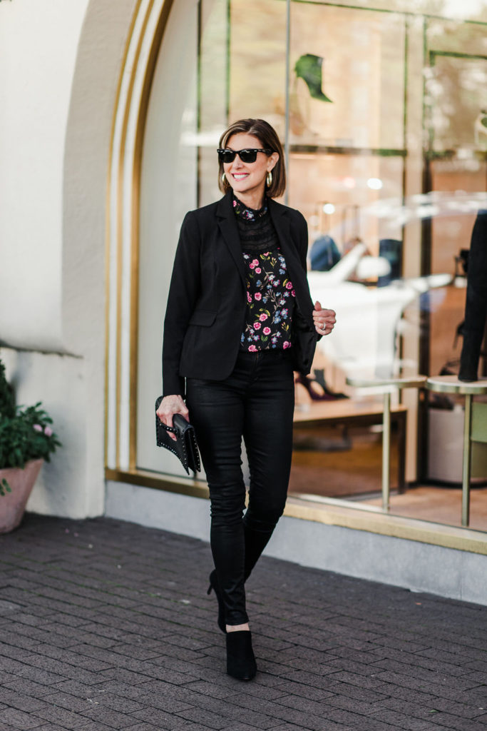 Laundry black jacket with Kate Spade print top and black clutch