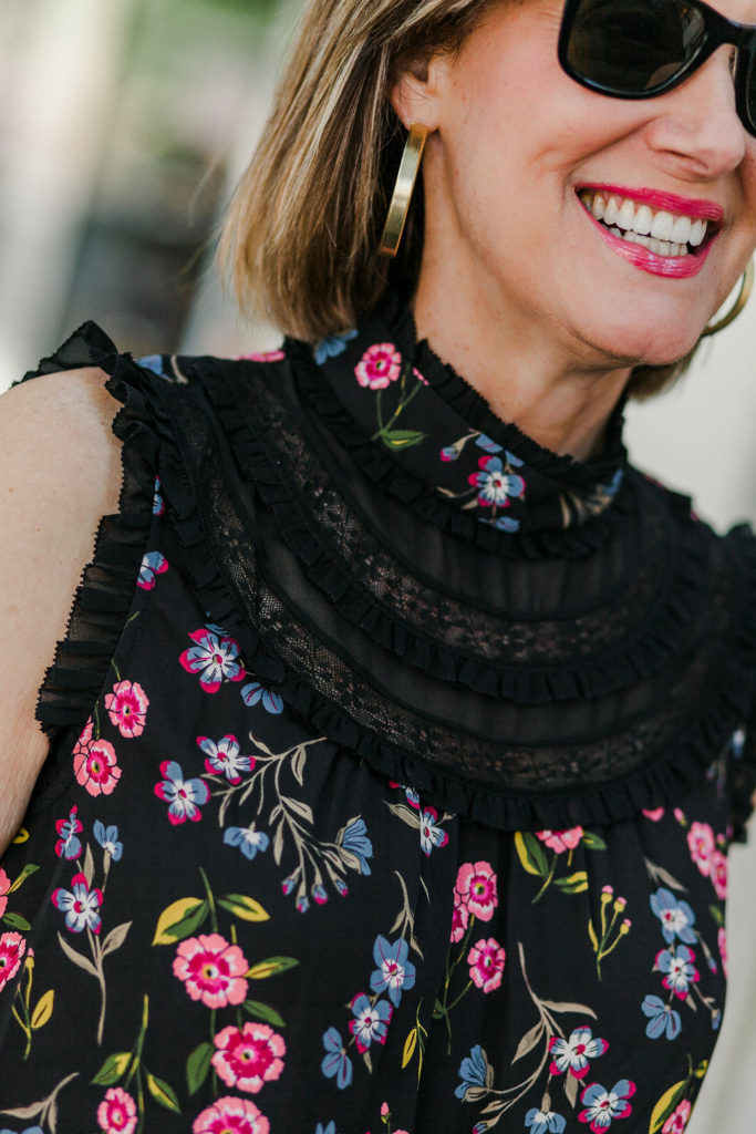 Dressing up in Kate Spade floral blouse