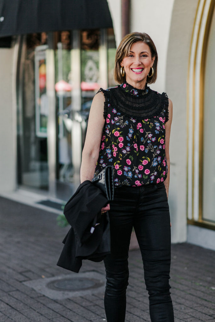 Floral Kate Spade top with lace and ruffles