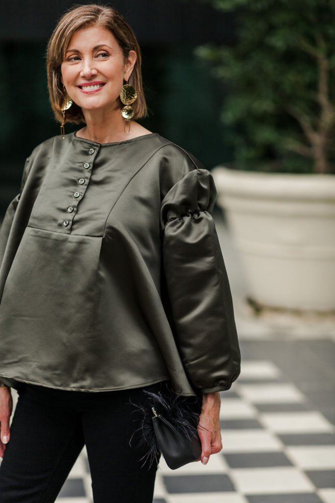 Details make a statement top on Dallas Blogger Debby Allbright from Stanley Korshak