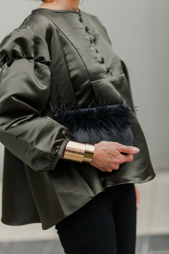 Fall 2018 on trend olive green and gold cuffs with feather bag