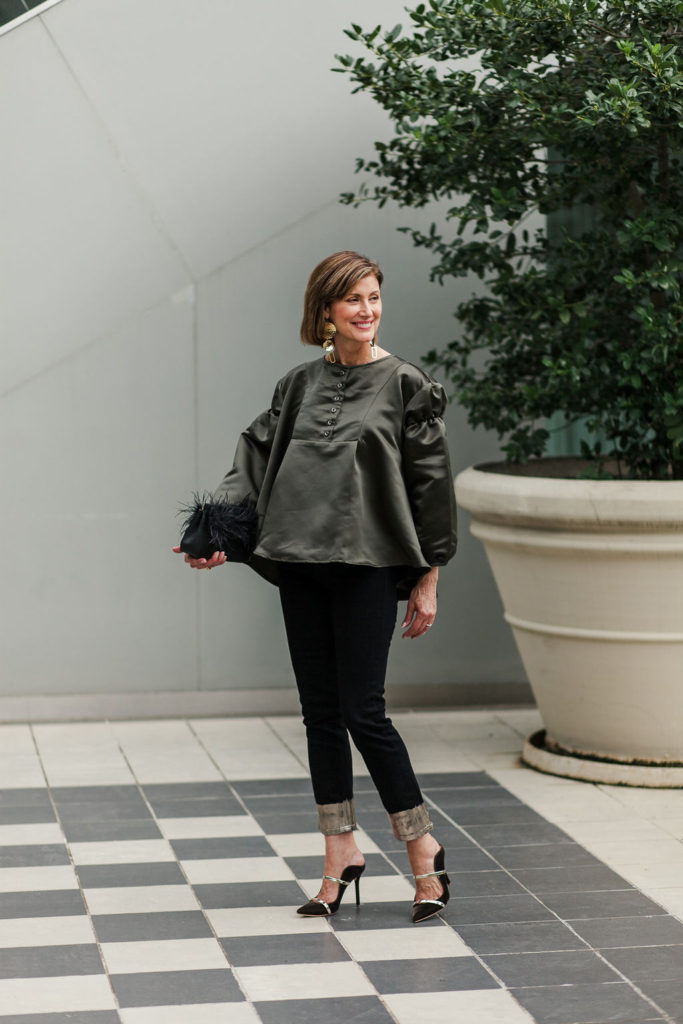 green satin top on over 50 blogger and killer shoes from Malone Soliers