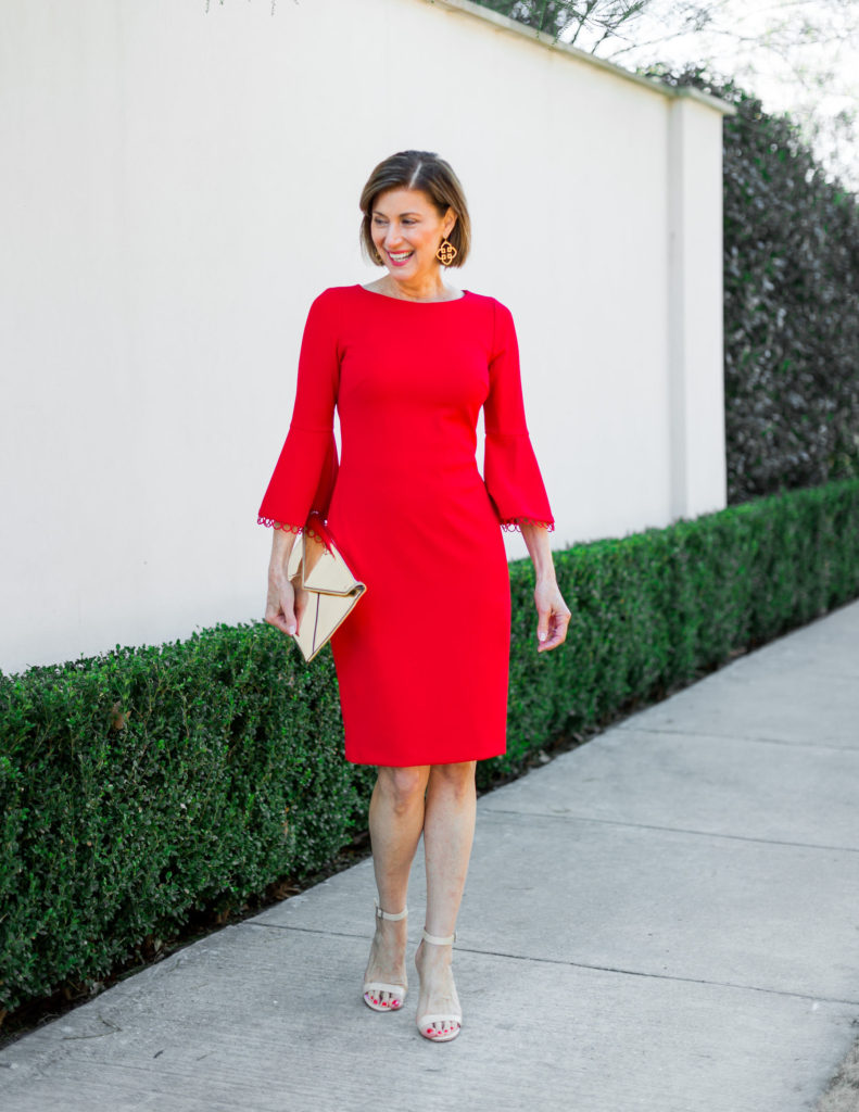 dallas blogger celebrating valentine's day in red dress