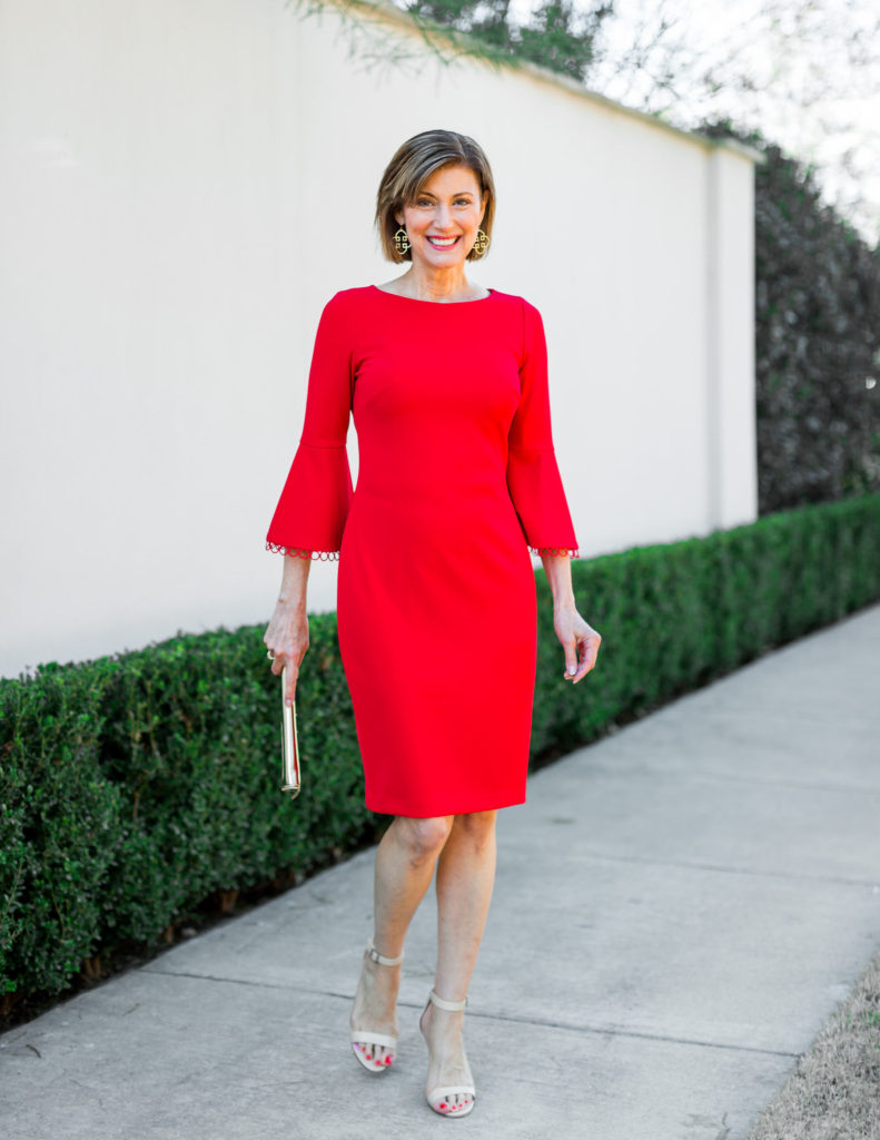 red dress from calvin klein for valentine's-day