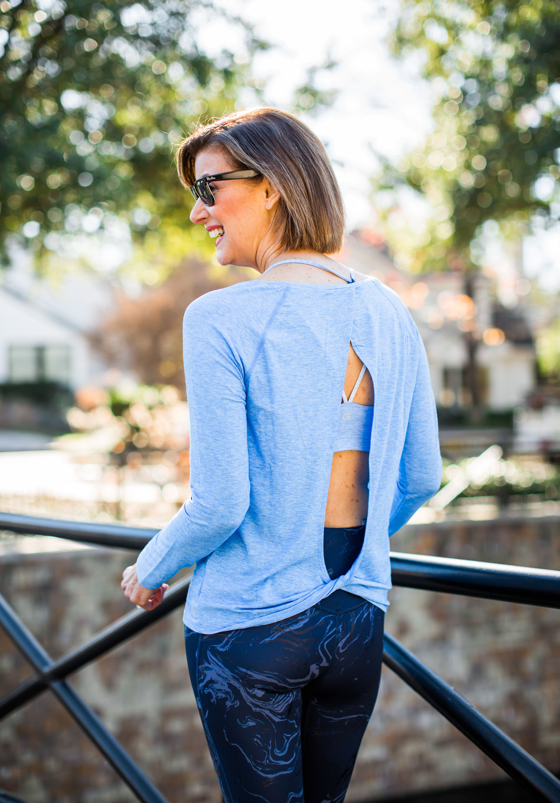 Over 50 blogger in Gap fit work out gear