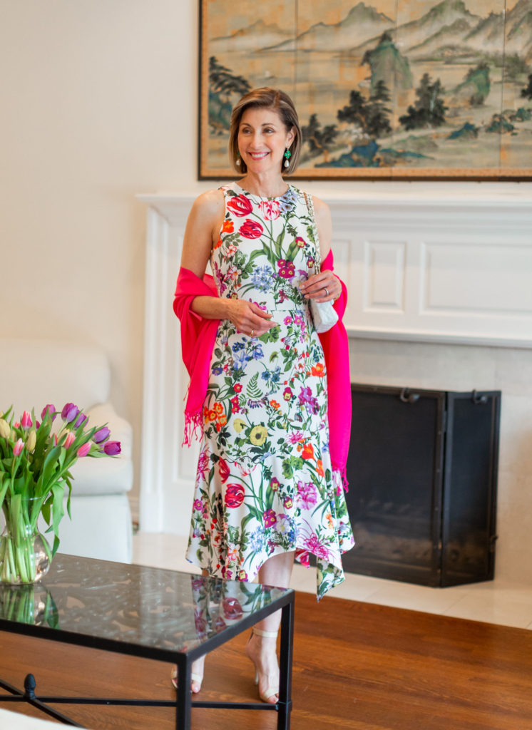 Fashionomics Dallas blogger wears floral dress for Easter