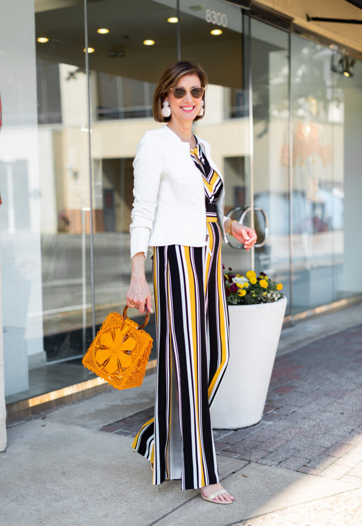 Vertical stripes make you look taller over 50 blogger