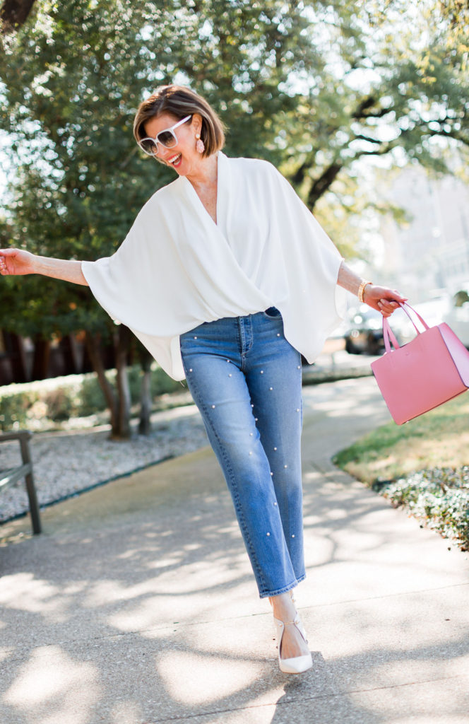 Over 50 blogger in McGuire jeans with pearl detail
