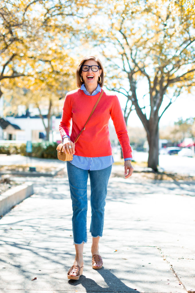 Coral Cashmere Sweater for travel