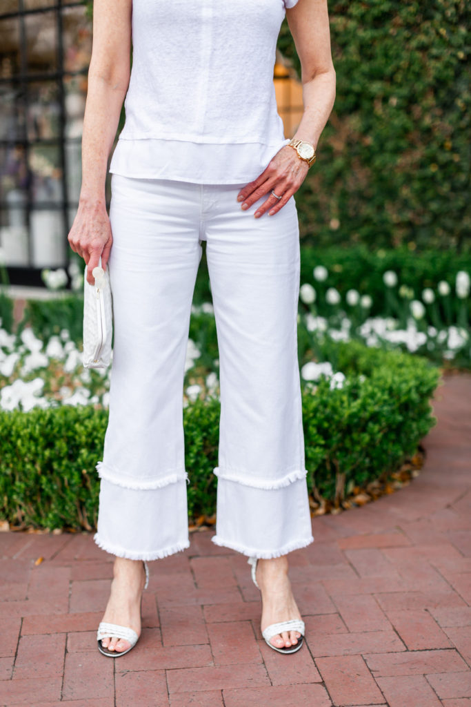 linen tee and frayed wide leg denim with heels