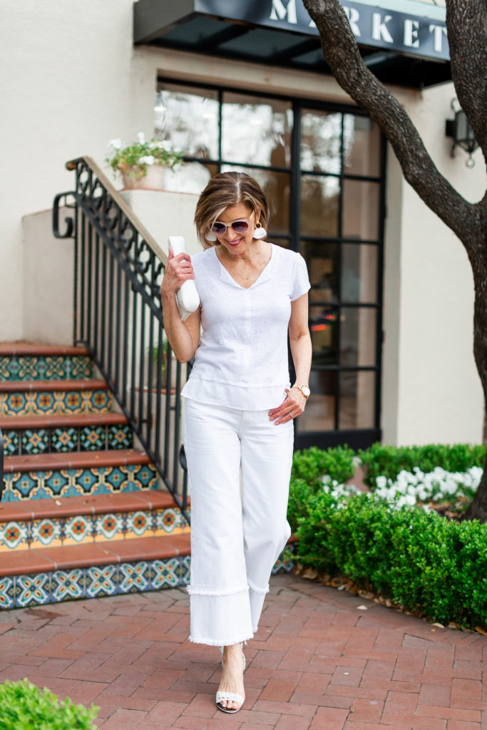 over 50 blogger in all white 2 ways
