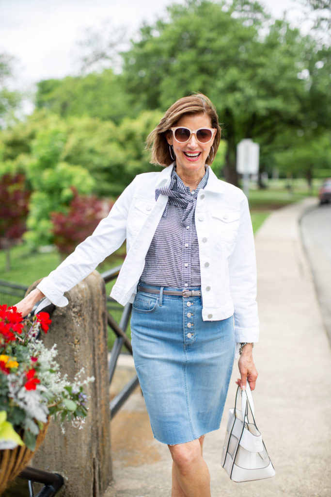 Wearing a denim skirt over 50