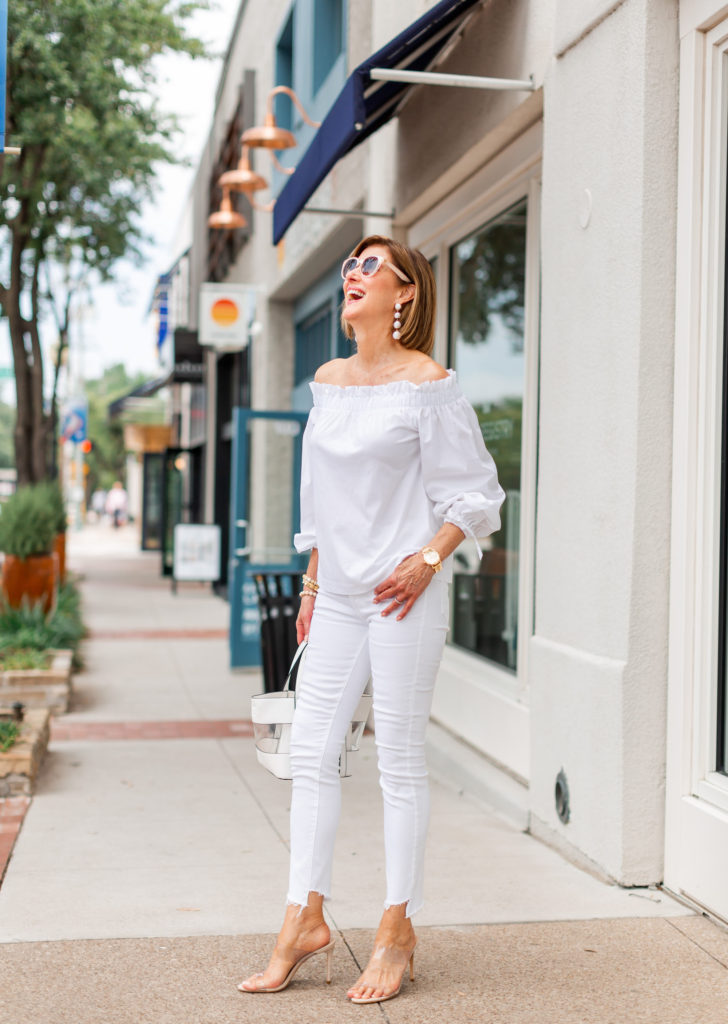 summer whites from banana republic and mother denim